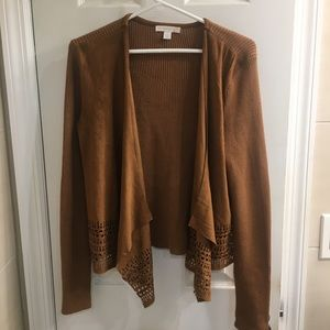 Tan Faux Suede and Sweater Laser Cut Cardigan